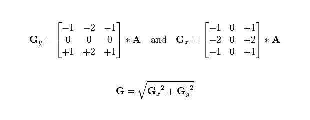Vzorec 1: Konvoluční matice Sobelova filtru (A je zdrojový obraz, G je výsledný gradient)