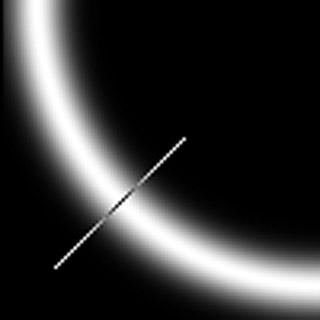 Obr. 7: Znázornění pixelů ve směru gradientu