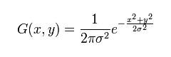 Vzorec 2: Dvou dimenzionální Gaussovská funkce
